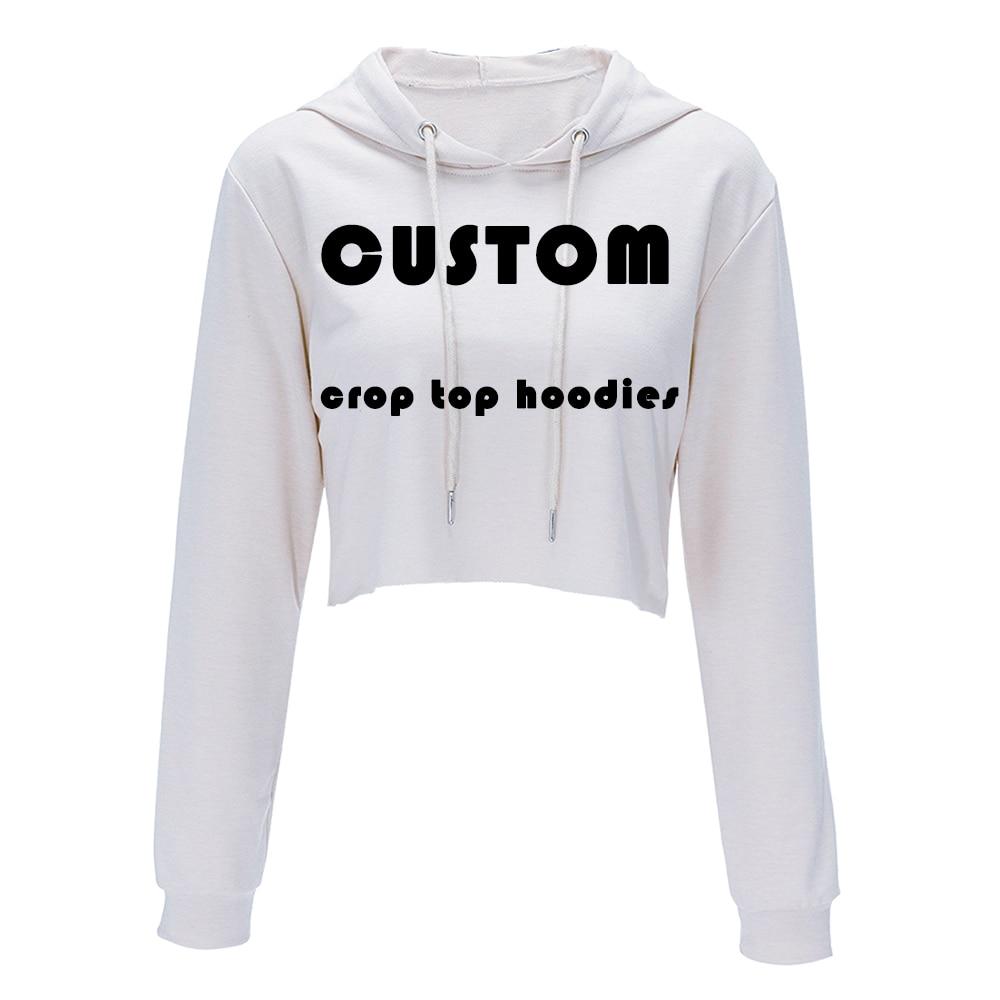 Drop Ship Custom Made Harajuku Sweatshirt Woman Girls Crop Top Cartoon 3D Printing Short Sweatshirt Hooded Wholesale Price