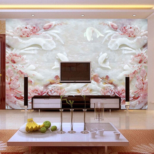 цены  Custom 3D photo Lotus jade nine fish figure 3D stereo large mural wallpaper TV background 3D wall paper room entrance