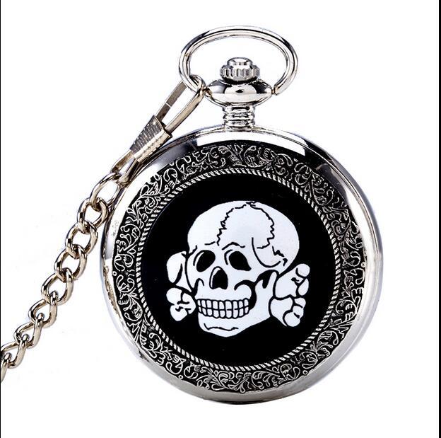 Enamel Flip Quartz Watch Cute Cartoon Skull Halloween Gift Quartz Pocket Watch PO047