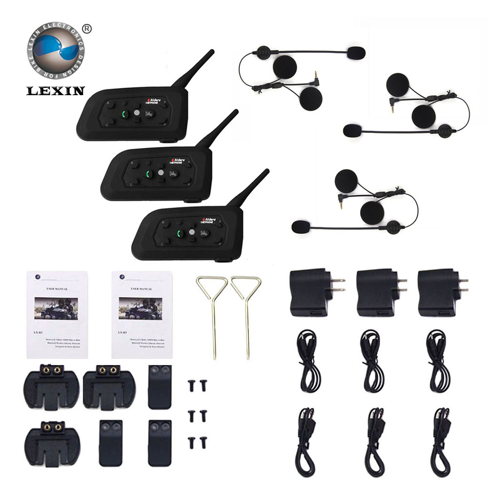 Lexin 3PCS 1200M Motorcycle Bluetooth font b Helmet b font Intercom for 6 riders BT Wireless