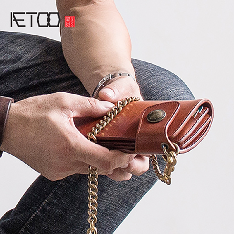 AETOO Japanese style cloth bag cowhide long wallet vintage leather wallet