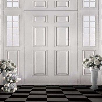 Fondo de la foto de la boda Interior vinilo impreso rosas blancas jarrones Retro estudio de fotografía fondos piso negro y gris