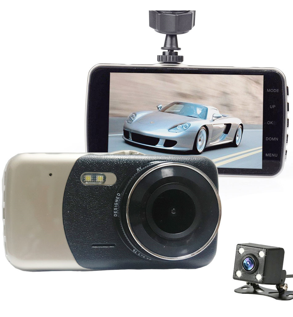 SKydot 4 Inch Car DVR Dual Lens Dash Cam Full HD 1080P Video Recorder With Rearview Camera Night Vision G-Sensor 170 Degree DVRs06