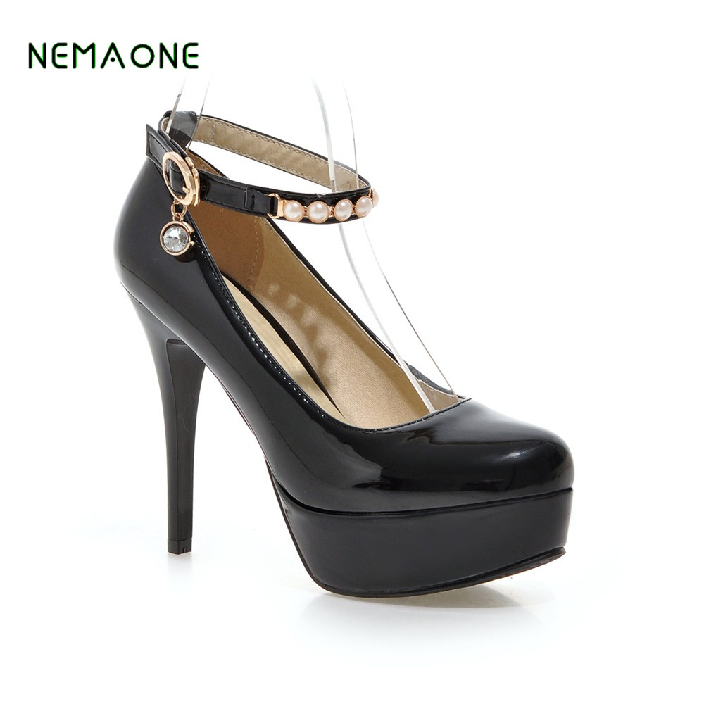 NEMAONE 2018 Fashion Women Round Toe Height Platform Extreme High Heels Shoes Sexy Pumps Evening Party Black 2018 fashion women round toe height platform extreme high heels shoes 16cm snake sexy pumps nightclub evening party