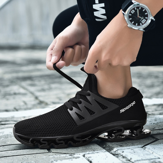 745c464b8409 2018 Hot Sale Men Women Running Shoes Summer Outdoor Sport Breathable Air  Mesh Cushioning Spring blade Sneakers Size 36-48