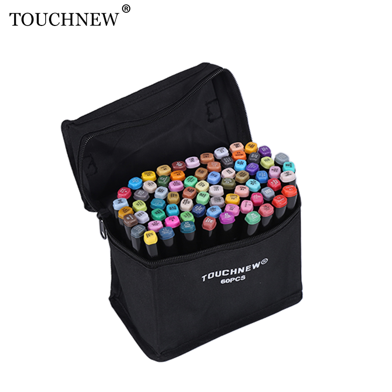 TOUCHNEW 168 Color Artist Markers Set Alcoholic Oily Dual Headed Sketch Marker Pen For Animation Manga Design Supplies touchfive marker 60 80 168 color alcoholic oily based ink marker set best for manga dual headed art sketch markers brush pen