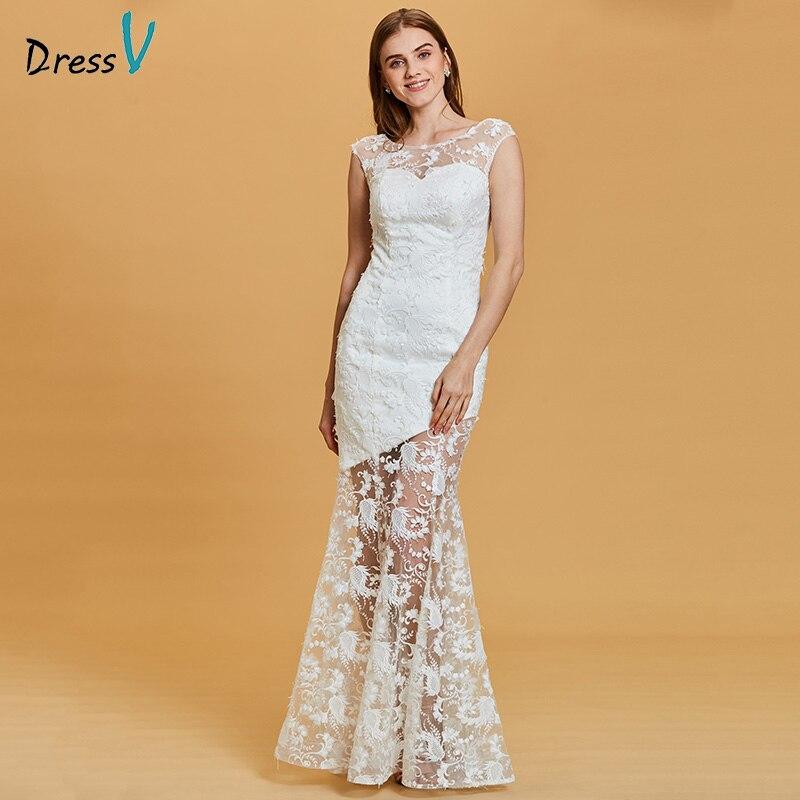 Dressv white long   evening     dress   cheap scoop neck lace cap sleeves wedding party formal   dress   mermaid   evening     dresses
