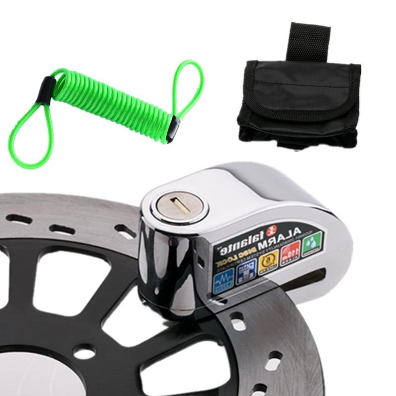 Motorcycle Moto Scooter Bicycle Disc Brake Lock Security Anti-theft Alarm Lock Zinc Alloy Lock + Bag + Reminder Cord