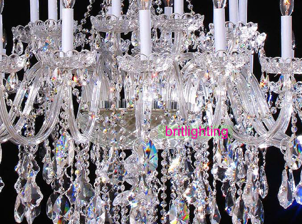 duży żyrandol z kryształowymi zawieszkami duża lampa do hotelu - Oświetlenie wewnętrzne - Zdjęcie 6
