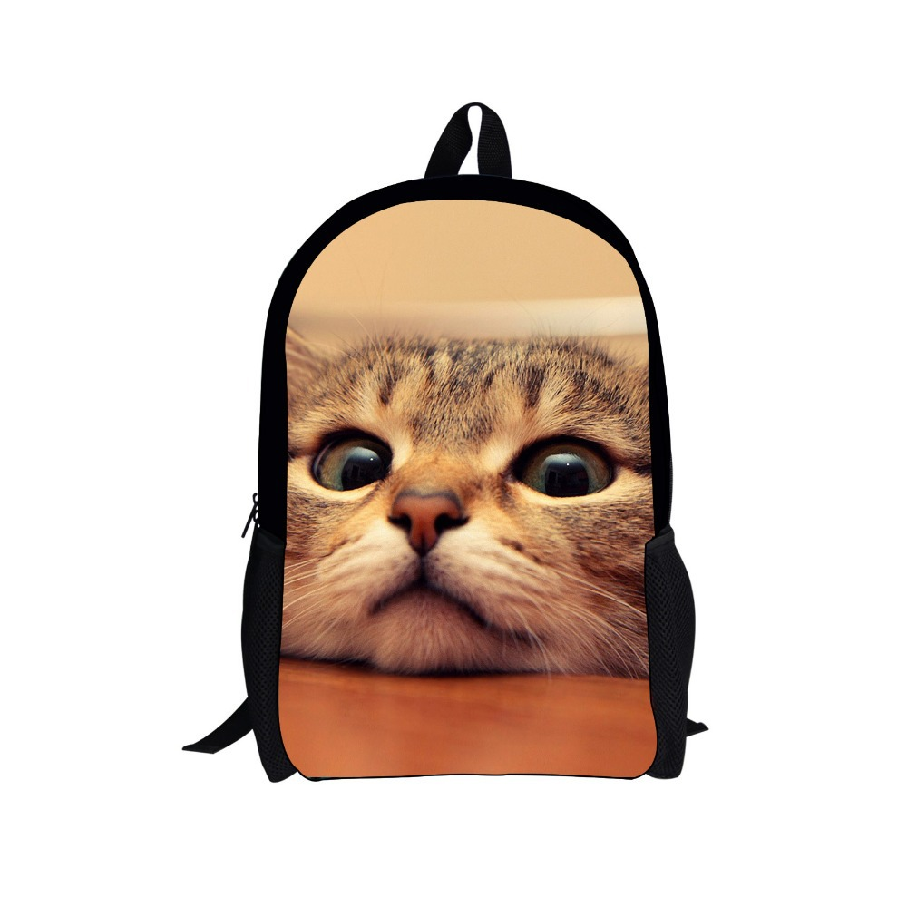 FORUDESIGNS Large 16 Inch 3D Animal Women Backpack Cute Cat Dog Print Girls School Backpack Kids Teenager Boys Back Pack Mochila cute 18 inch animal cat dog printing