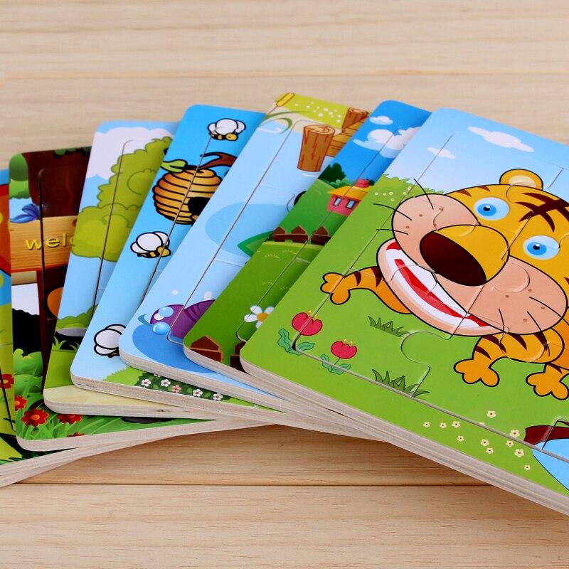 9 шт./компл. деревянные пазлы Игрушки для детей животных серии Tiger/Слон/Гусь/корова/утка обучения и образовательный инструмент