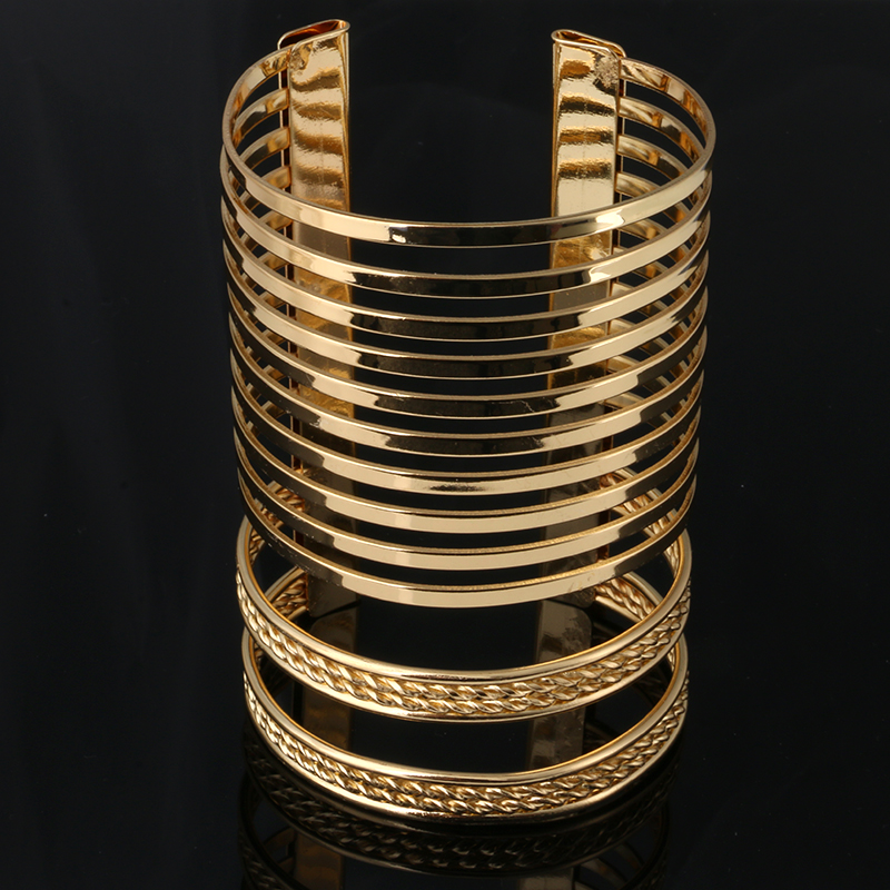 New Vintage Punk Style Hollow Out Braid Multilayer Bangles Fashion Charms Wide Bracelet Women Jewelry Pulseras G019