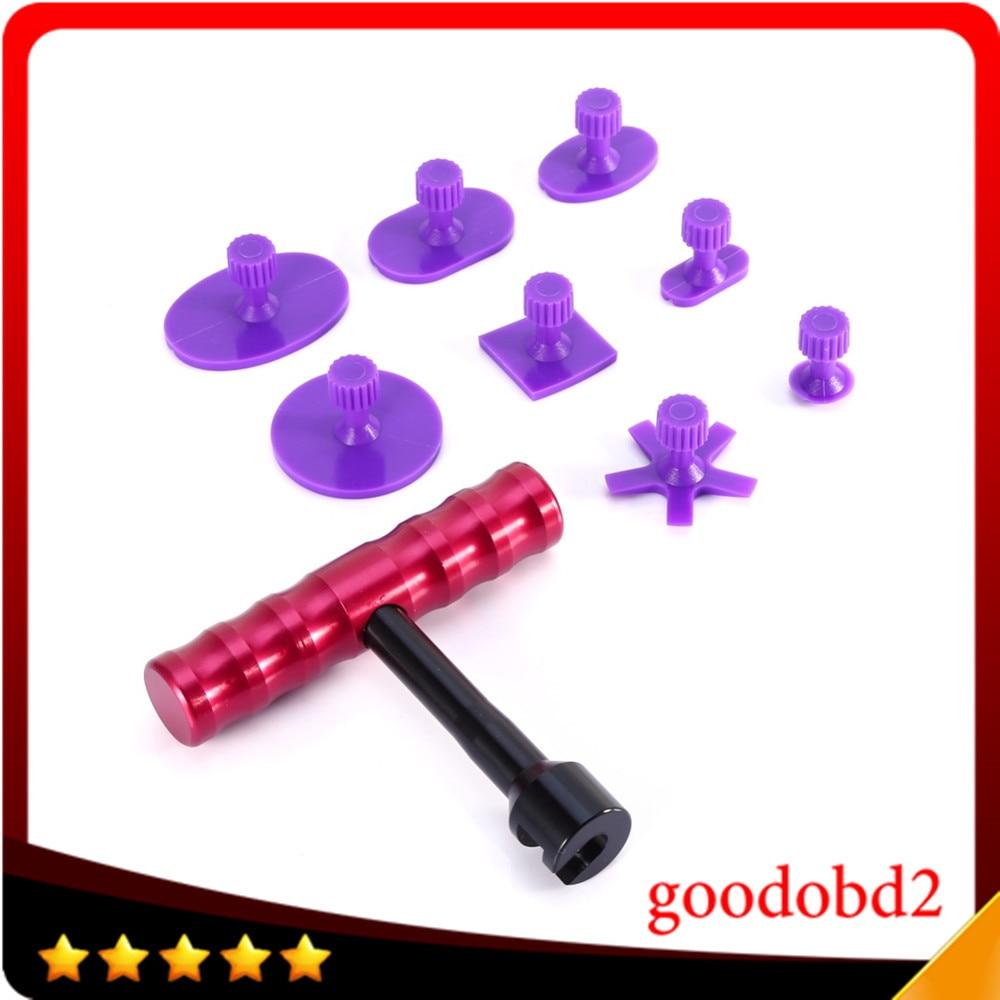 Mais novo 8 pçs ferramenta de pdr cola puxando tabs + 1pcs t-bar dent lifter carro paintless dent repair tools para carro dent repair tool
