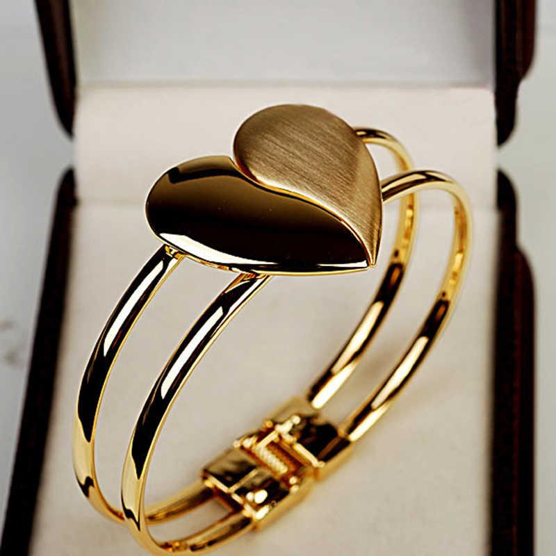 แฟชั่นสร้อยข้อมือคริสตัล Heart Charm สร้อยข้อมือหญิงเจ้าสาวแต่งงานของขวัญเครื่องประดับ Fine Fine Mujer Pulseras