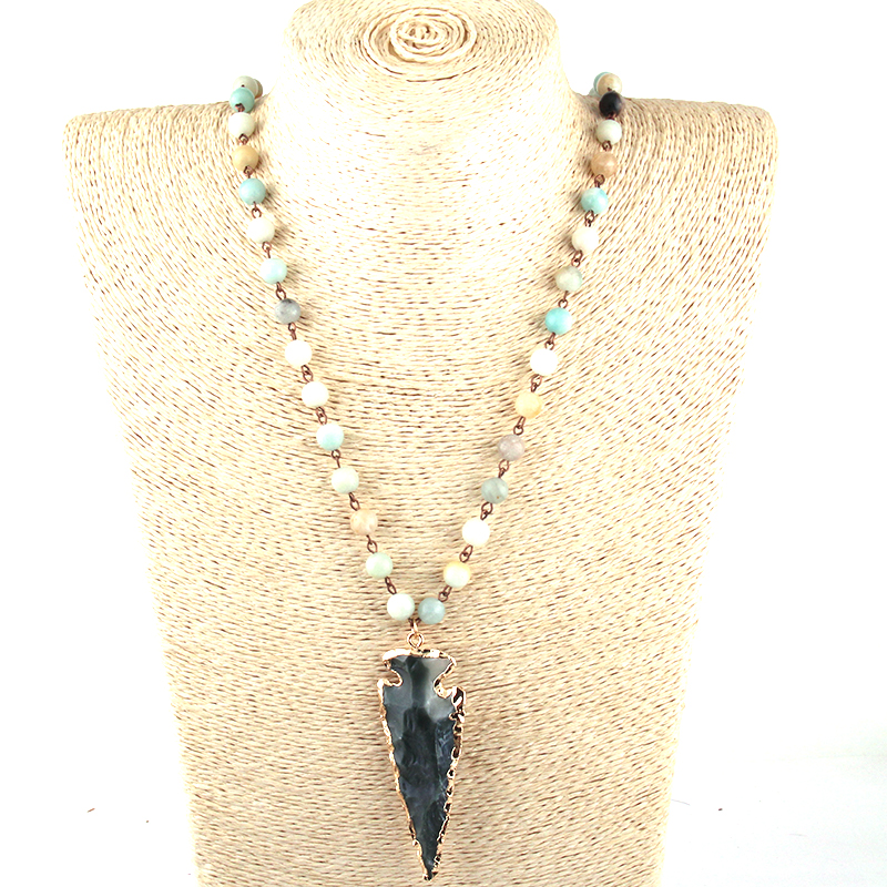 Arrowhead Long Beaded Amazonite and Agate Stones Necklace