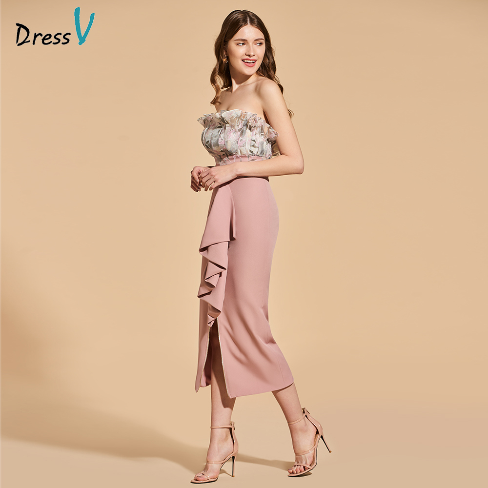 Dressv print cocktail dress elegant strapless tea length zipper up sheath split front wedding party formal dress cocktail dress