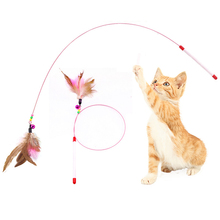 2pcs/lot Cat Toys Steel Wire Teaser With Bell Funny Feather Rod Kitten Stick Interactive For Cats Supplies