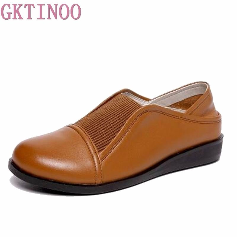 GKTINOO 2018 New Fashion Shoes Woman Genuine Leather Loafers Women Casual shoes Soft Comfortable Shoes Women Flats Plus Size women flats new fashion women genuine leather flat shoes woman bow casual shoes comfortable soft outsole loafers women shoes