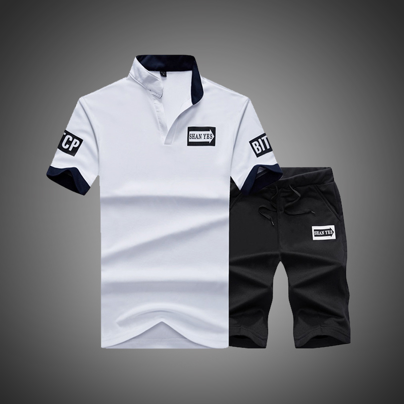 Sportsuits Set Men 2019 Brand Polo Suits Summer 2PC Top Short Set Men's Stand Collar Fashion 2 Pieces T-shirt Shorts Tracksuit