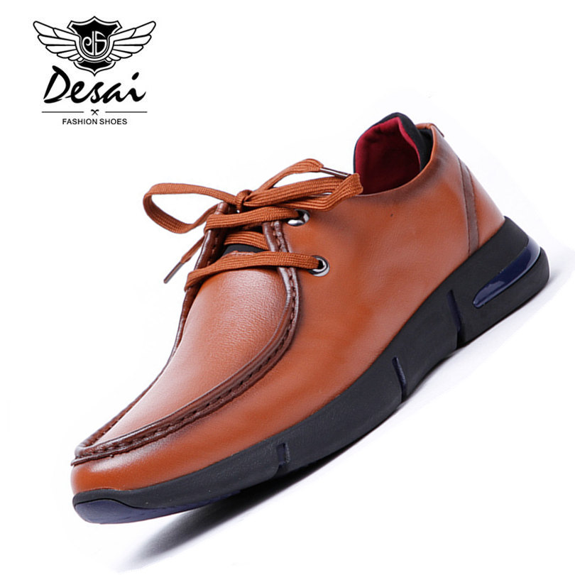 DESAI Brand Men Shoes Genuine Leather Italian Designer Men's Casual Trainers Shoes Lace Up Shoes Black Size 38-43 hot sale mens italian style flat shoes genuine leather handmade men casual flats top quality oxford shoes men leather shoes