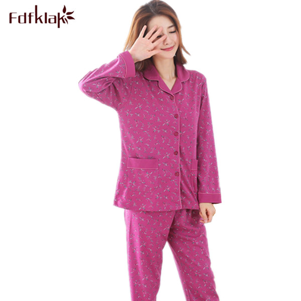 2017 Autumn Winter Womens   Pajama     Sets   Home Clothes Long Sleeve Print Sleepwear Pijama Plus Size Ladies Pyjamas   Set   M-XXL Q367