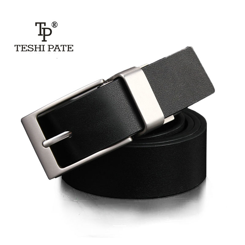 TESHI PATE 2018 new casual jeans man belt Designers rotating needle buckle luxury mens Cowskin double-sided design Fashionable