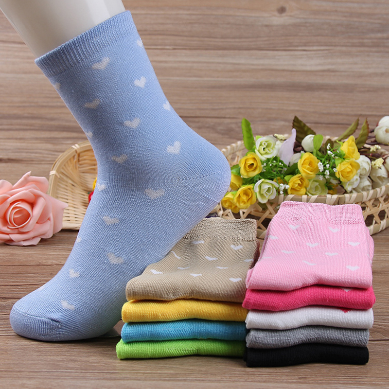 5 Pairs Classic 10 Colors Love Pattern Fashion   Socks   Women Sweet Fresh Style Spring Winter Fashion Female Short Tube   Sock   Meias