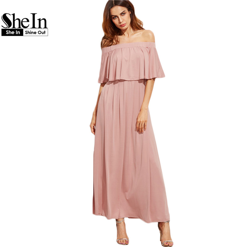 Shein rosa vestidos largos fuera del hombro otoño vestidos de las señoras elegan
