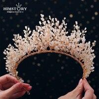 Himstory News Rhinestone Crystal Tiara Headband Fashion Gold Headpieces Royal Bridal Wedding Dressing Crown Accessory Women