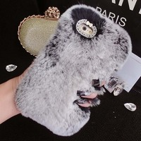 Quality Real Rabbit Hair Case Fur Rhinestone Bling Plush Furry Hard Cover Phone Case For IPhone