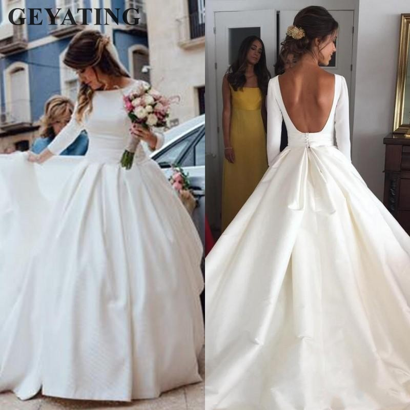 Simple Ivory Satin Long Sleeves Wedding Dress 2019 Boho Bridal