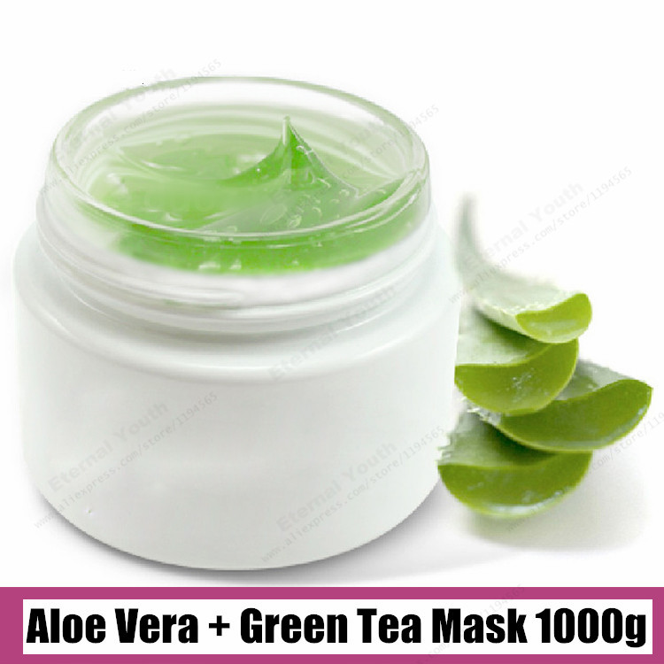 Natural Skin Repair Aloe Vera + Green Tea Mask 1000g Facial Damaged Recover Sleeping Mask Beauty Salon Equipment 1kg Wholesale 1kg sensitive skin chamomile mask gel beauty salon 1000ml ultra calm cooling soothes recuperate repair