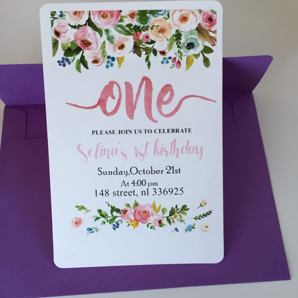 Aliexpress Buy 8 Personalized Happy 1st birthday invitation – 21st Invitation Cards