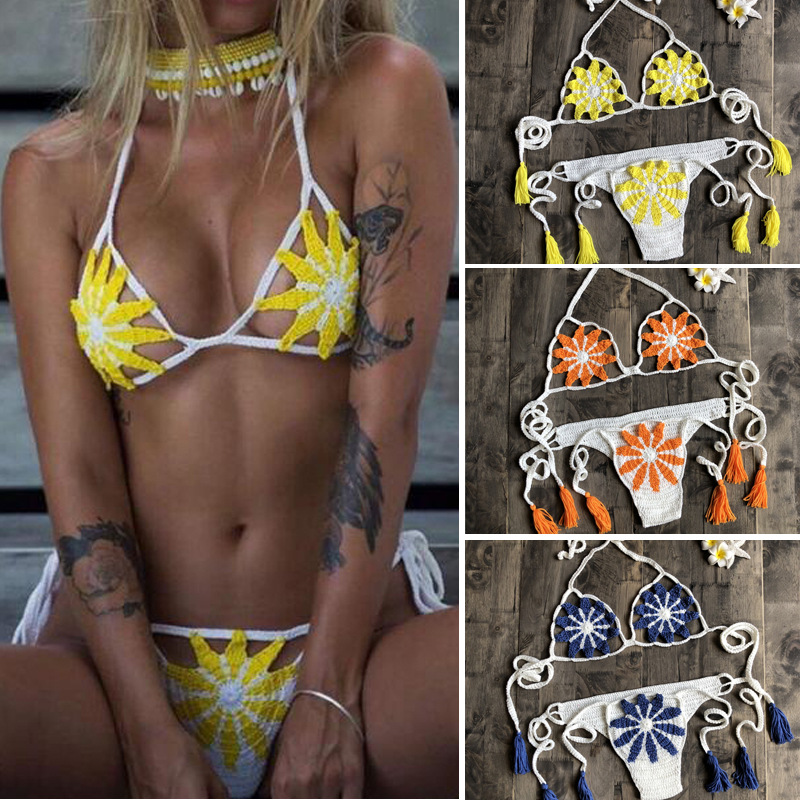 Handmade crochet 2019 micro bikini G thong string swimwear Set Sexy Black Lingerie mini Sunbathing m