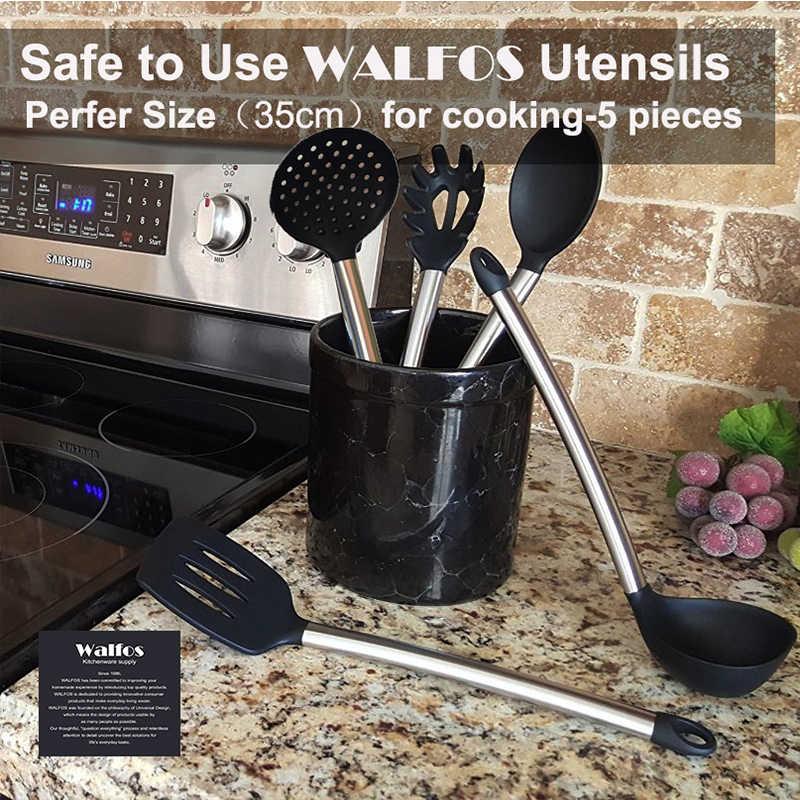 WALFOS силиконовая ложка для приготовления супа ковш-Яйцо Тернер набор кухонных инструментов кремния нержавеющая сталь набор кухонной посуды