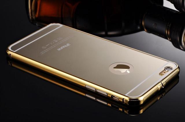 Luxo chapeamento de ouro tampa traseira de metal de alumínio bumper + espelho case para iphone iphone 7 6 7 6 6 s 6 s 5 plus 5S se carcaça do telefone