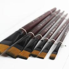 Набор из 6 художественных коричневых нейлоновые кисти для рисования акриловых 10,11