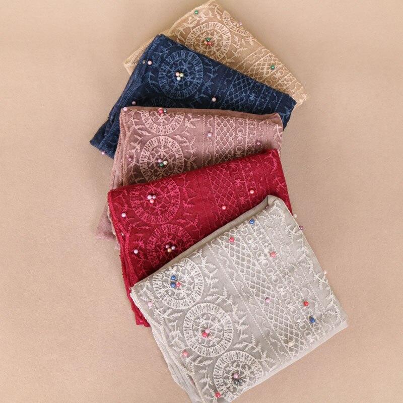 Laven dentelle écharpe dentelle perles foulard femme de mode Tie dye écharpe  coton bandana musulman hijab ... d395f967bee