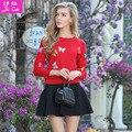 Marca europeu Da Primavera Patchwork Falso Duas Peças Vestido de Malha Plus Size Vestidos de S-XL Sweatershirt Manga Longa Ponte Pullover