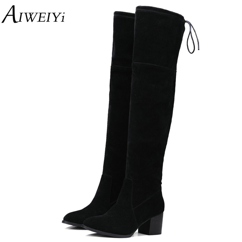 AIWEIYi Slim Boots Sexy Knee High Faux Suede Women Snow Boots Womens Fashion Winter Thigh High Boots Casual Shoes Woman