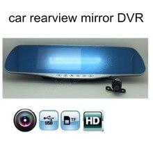 Wholesale prices free shipping camcorder dashcam HD Dual Lens Car DVR Dual lens Mirror 4.3 Inch Car Camera rearview mirror include rear camera