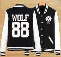 Plus size preppy style kpop exo wolf 88 xoxo baseball jacket autumn winter single breasted hoodie jacket casual tracksuits