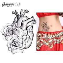 1pc Temporary Body Art Tattoo Sticker KM-064 Fake Sketch Heart Rose Flower Decal Pattern Design Waterproof Tattoo For Cool Women