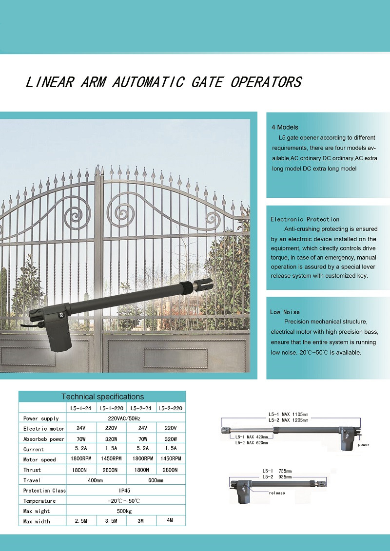 linear arm automatic gate operators arm 2.5m 3m 4m dual motor arm 2 ...