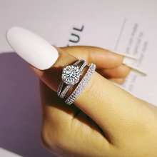 Moonso new Fashion wedding ring set for women bride engagement Jewelry Bands eternity christmas gift R4836 moonso
