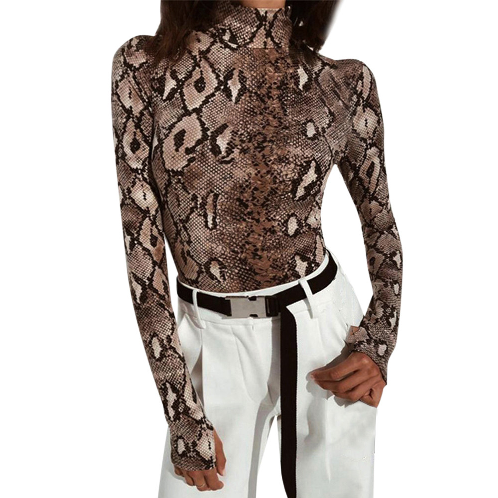 Women Sexy Snake Print Long Sleeve Turtle Neck Zippers Tops Bodysuit Womens Jumpsuit Overall Knitted Combinaison