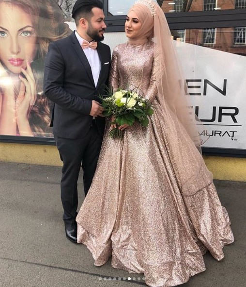 Sexy Elegant Women Formal Gala Party Long Dress Plus Size Arabic Muslim Gold Long Sleeve Evening Prom Dresses Gown 2019
