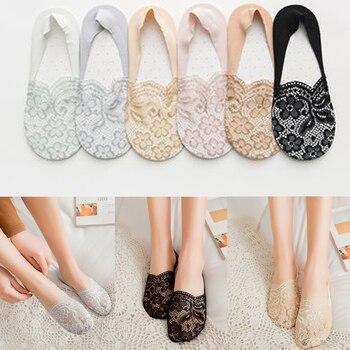 1 par 2019 moda mujer verano transparente encaje flor corto corte bajo tobillo calcetines niñas antideslizantes calcetines invisibles barco