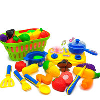 Surwish Hand Basket Pack Children Pretend Play Kitchen Cooking Toy Set Home Educational Toy With Sound