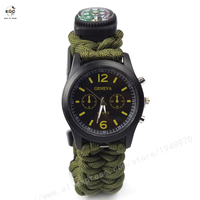 EDC 1991 Outdoor Camping Compass Watch Whistle Survival Gear Paracord Cutting Knife Rescue Rope SOS Equipment